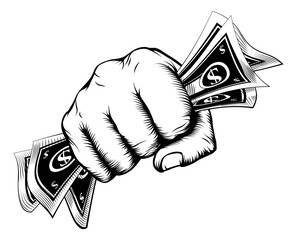 Fist holding money concept