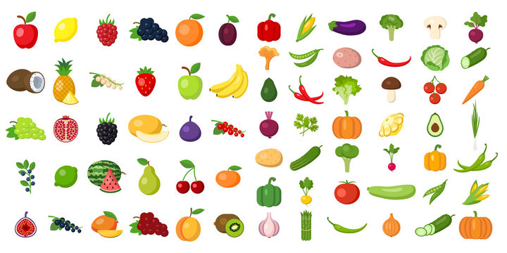 Set of fruits and vegetables. Different colorful vegetables and fruits. All kinds of green vegi and fruit for cooking meals, planting in garden.