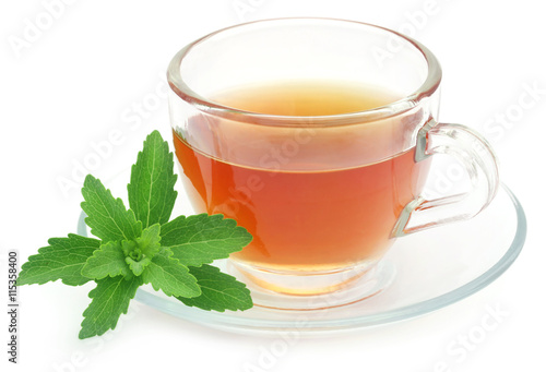 herbal tea in a cup with stevia leaves stockfotos und. Black Bedroom Furniture Sets. Home Design Ideas