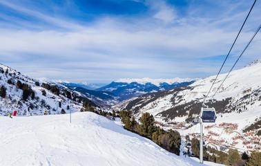 On the slopes of the ski resort of Meribel. France
