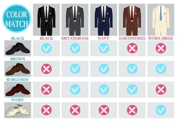 Color mix and match guide for men suit and shoes. Suitable and appropriate color match variations for various events, formal, business, casual and other.
