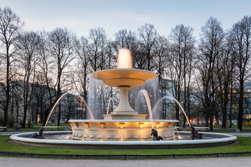 Warsaw at Night, park view with fountain. Long Exposure