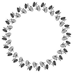 Elegant round frame with butterflies.  Design element for advertisements, logos, pages, flyer, web, wedding and other invitations or greeting cards. Vector clip art.