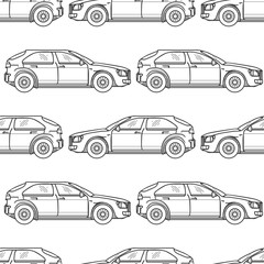 Black and white seamless pattern with hand drawn cars. Vector illustration