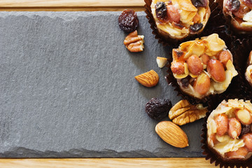 Sweets with nuts and caramel