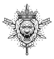 Vintage symbol of a lion head, a crown.