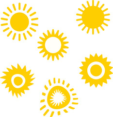 Set of sun icon hand draw. Vector Illustration