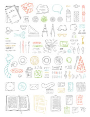 Vector set of doodles work place objects.