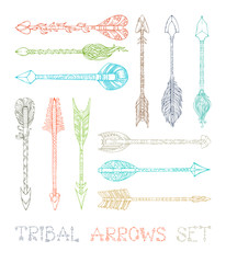 Vector set of colourful outlined tribal arrows.