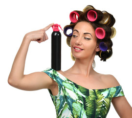 happy fashion brunette woman with big black hair spray and curle