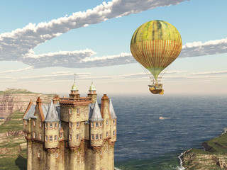 Scottish castle and fantasy hot air balloon