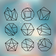 Vector illustration. Line shapes crystal geometry. Diamonds design. Alchemy, religion, philosophy, spirituality, hipster symbols and elements. Polygon style with geometric shapes in retro style.