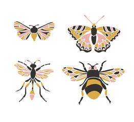 Bumblebee, butterfly, mol, apanteles. Insect icons, vector set. Abstract triangular style.