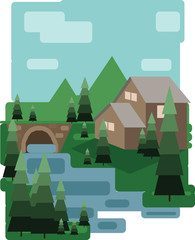 Abstract landscape design with green trees and clouds, a house and a bridge near a lake, flat style. Digital vector image.