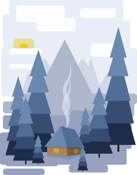 Abstract landscape design with white trees and clouds, a house with smoke, snowing in a forest in winter, flat style. Digital vector image.