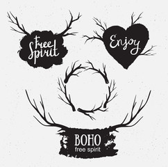 Set of rustic logo elements. Hand drawn hipster vintage stylized vector design elements.