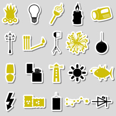 light theme modern simple black and yellow stickers icons eps10