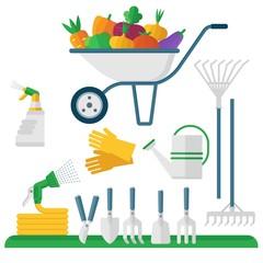 wheelbarrow and garden equipment
