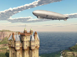 Scottish castle and airship