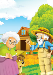 Cartoon happy farm scene - dog on the farm - near the path - old farm woman and farmer -  illustration for children