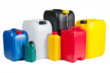Plastic canisters for machine oil