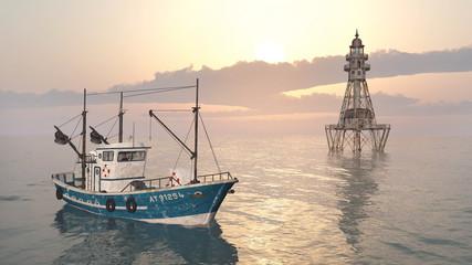 Fischkutter und Leuchtturm