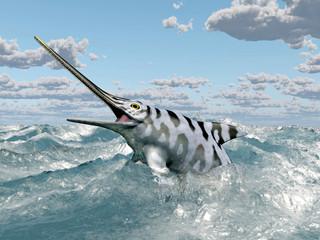 Ichthyosaur Eurhinosaurus in the stormy ocean