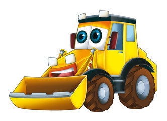Recess Fitting Cars Cartoon funny excavator - isolated - illustration for children