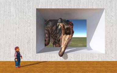 Kleinkind und der Dinosaurier Spinosaurus an einer Betonwand mit einer Öffnung