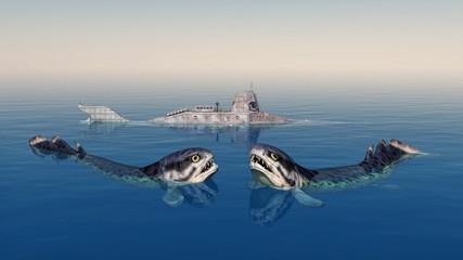 Rhizodus und Fantasie Unterseeboot