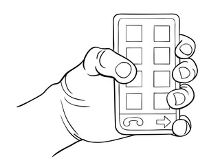 Hand holding smart phone. Black and white vector illustration freehand drawing style.