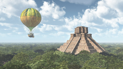 Maya temple and fantasy hot air balloon