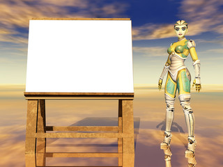 Easel and female robot