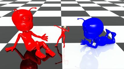 Alien Figuren und Frau auf einem Schachbrettmuster