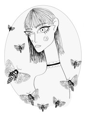 Abstract Girl with Big  Eyes and Short Bangs Hairstyle with Butterflies