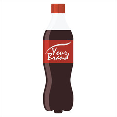 Bottle of soda with red lable, vector illustration. Flat style.
