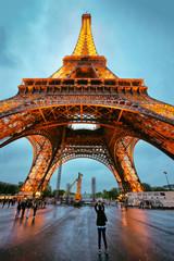 Illuminated Eiffel Tower in Paris