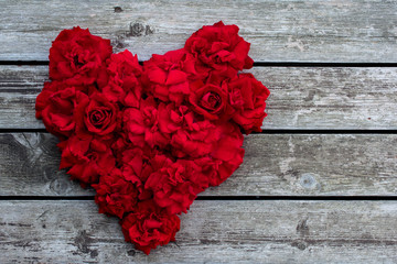 Heart of red roses. Red rose.