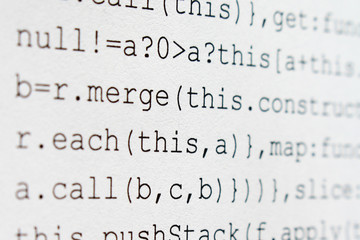 Software developer programming code. Abstract script source code.