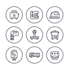 Appliances, consumer electronics line icons in circles, toaster, coffee machine, iron, blender, scales, steamer, home boiler, projector, air conditioner