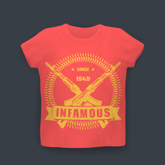 infamous since 1949, print with assault rifles, guns, t-shirt design on mockup in colors of soviet flag, vector illustration