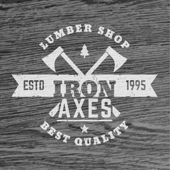 lumber shop vintage logo, logotype, timber store sign with lumberjacks axes