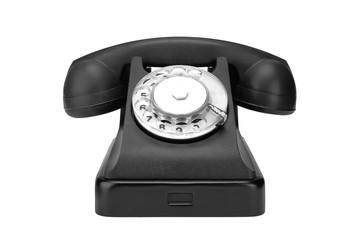 Black vintage retro phone on a white background