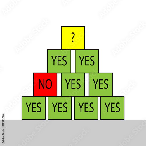 Select Yes No Question Mark Pyramid Made From Colored Cubes