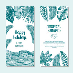 Tropical palm leaves bright flyer set. Vertical travel banners. Vector illustration drawn in ink.