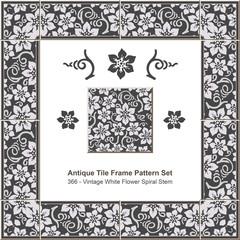 Antique tile frame pattern set_366 Vintage White Flower Spiral Stem