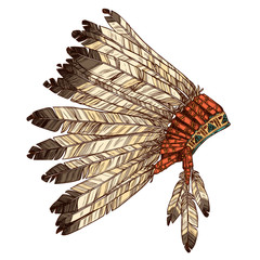 Hand Drawn Native American Indian Headdress In Profile. Vector Color Illustration Of Indian Tribal Chief Feather Hat Side View