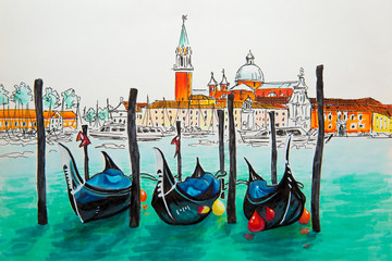 Gondolas moored by Saint Mark square with San Giorgio di Maggiore church in the background in Venice lagoon, Italia. Picture made markers