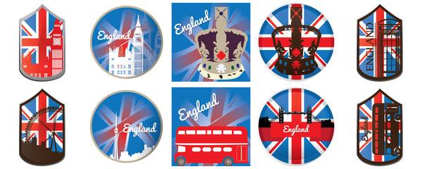 Set of england, vector illustration