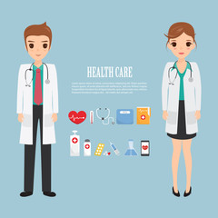 doctor occupation character health care with icon set